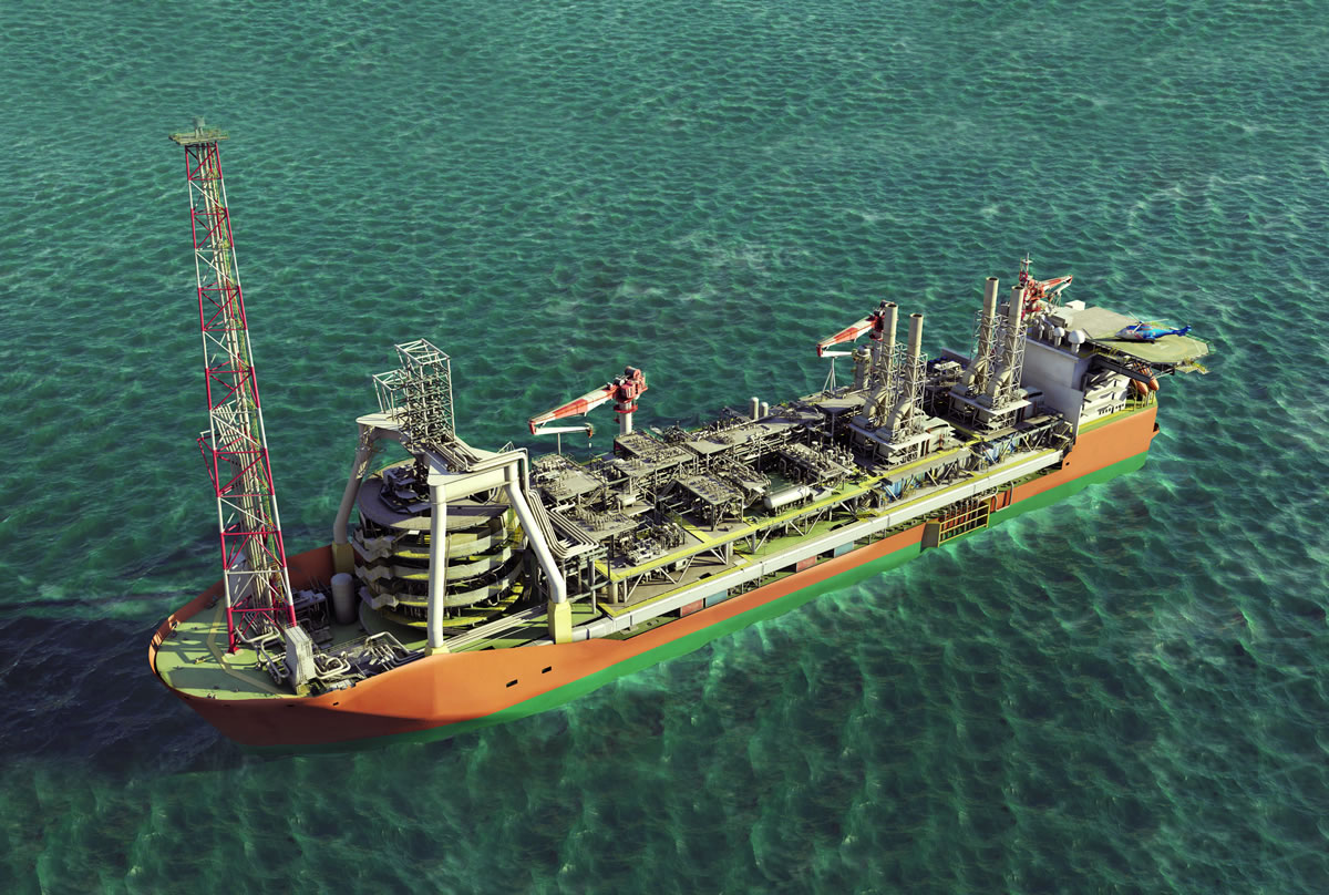 An artist's illustration of the new Quad204 FPSO.
