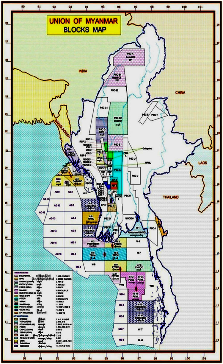 Myanmar license blocks; Shwe area shown in red outline. Map: MOGE, February 2013.