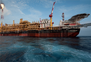 The giant FPSO Pazflor in production offshore Angola.